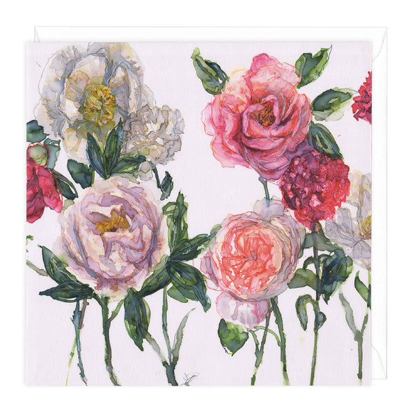 Mixed Peonies And Rose With Carnations Art Card