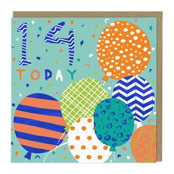 14 Today Balloons Birthday Age Card