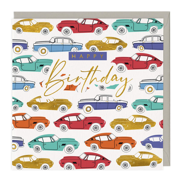 Golden Classic Cars Birthday Card