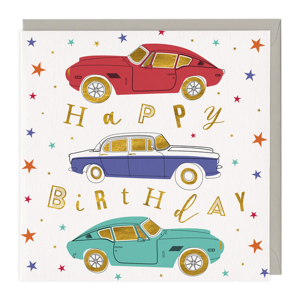 Classic Cars and Stars Birthday Card