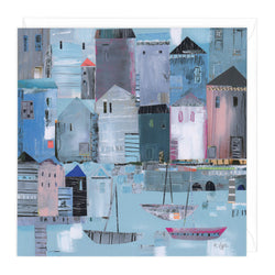 Boats By The Sea Art Card