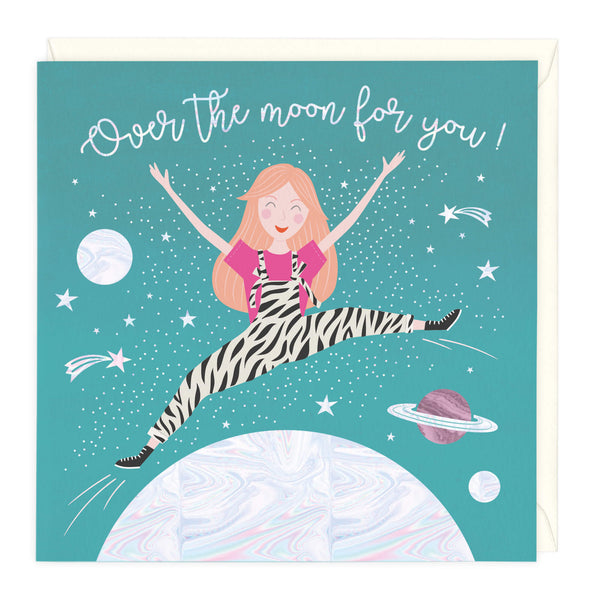 Over The Moon Holographic Congratulations Card