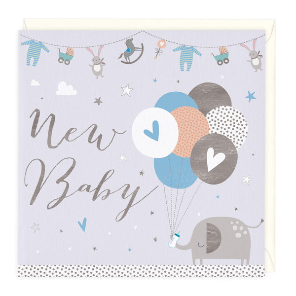 Ellie and Balloons New Baby Card