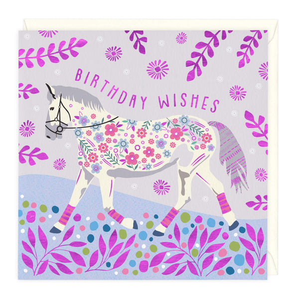 Floral Pink Horse Birthday Card