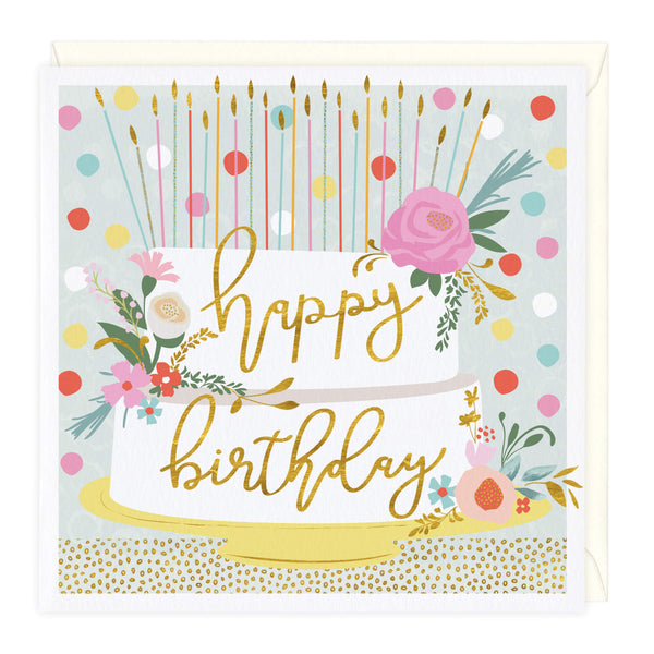 Floral and Gold Cake Birthday Card