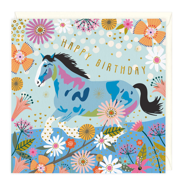 Colourful Clydesdale Birthday Card