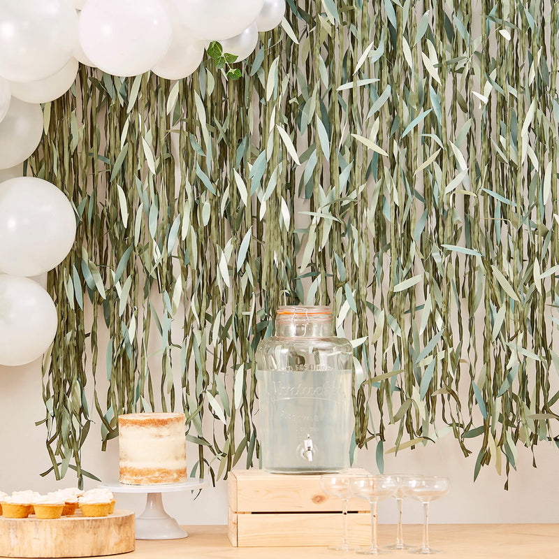 Botanical Leaf Ribbon Backdrop