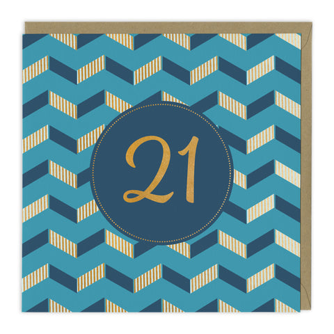 Blue 21st Birthday Card For Him