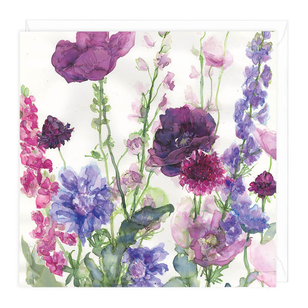 Larkspur, Poppies & Scabious Floral Card