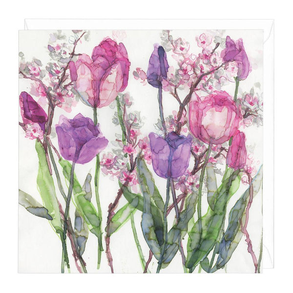 Pink Tulips & Pale Blossoms Card