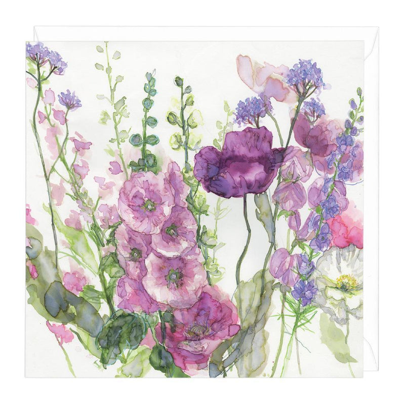 Hollyhocks & Mixed Poppies Floral Card