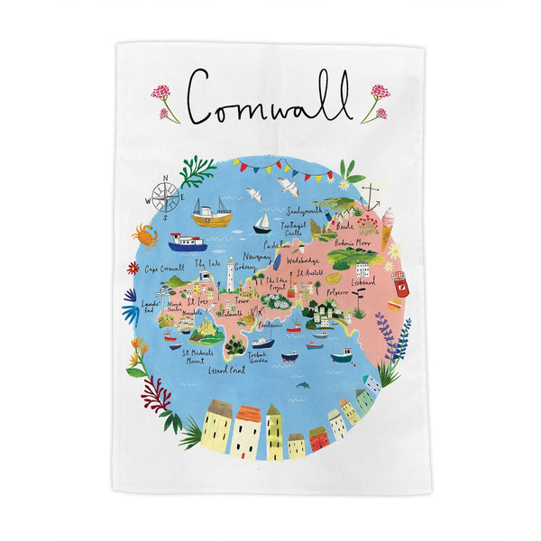 Cornwall Map Tea Towel