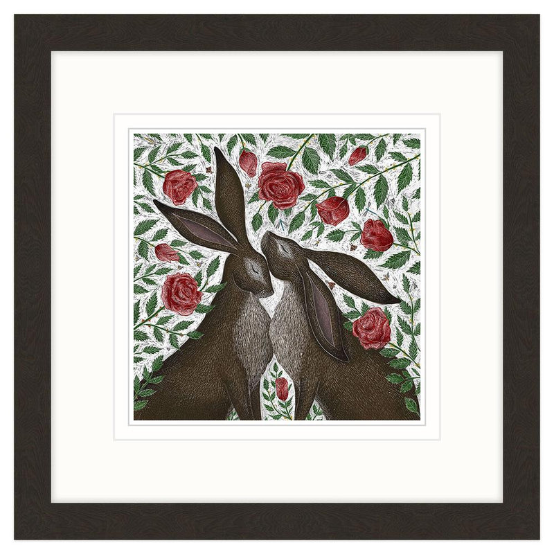 Hare & Red Roses Framed