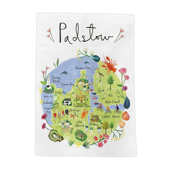 Padstow Map Tea Towel