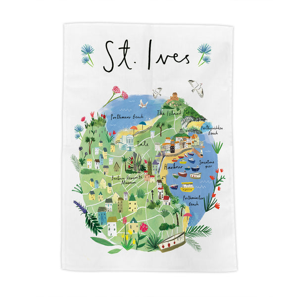 St Ives Map Tea Towel