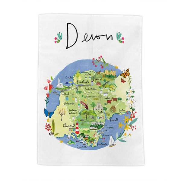 Devon Map Tea Towel