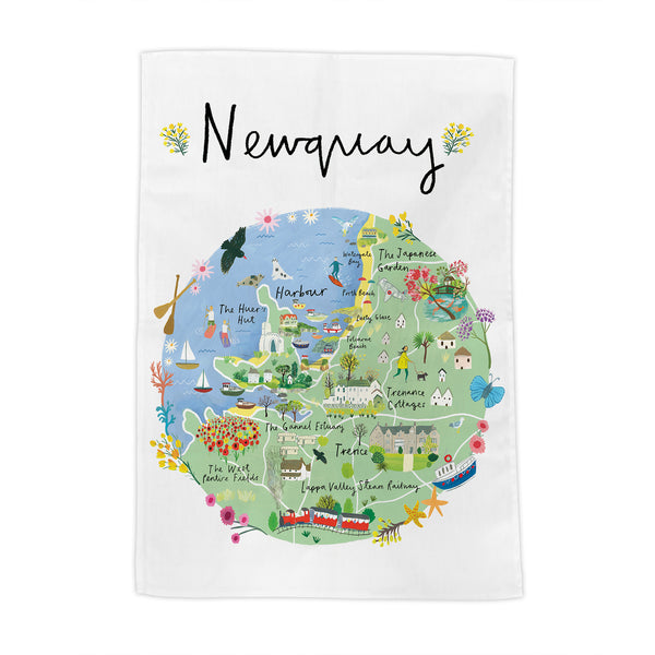 Newquay Map Tea Towel