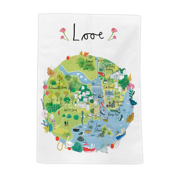 Looe Map Tea Towel