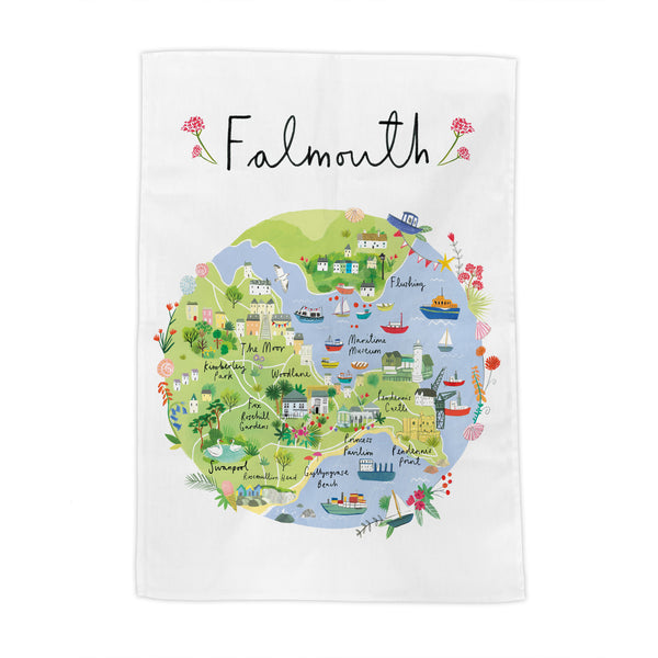 Falmouth Map Tea Towel