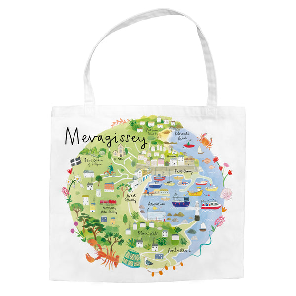 Mevagissey Map Tote Bag