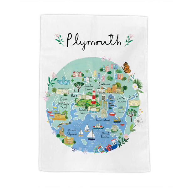 Plymouth Map Tea Towel