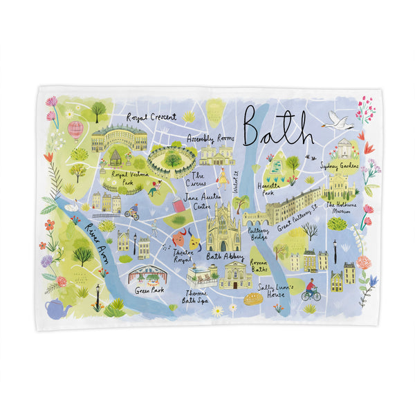 Bath Map Tea Towel
