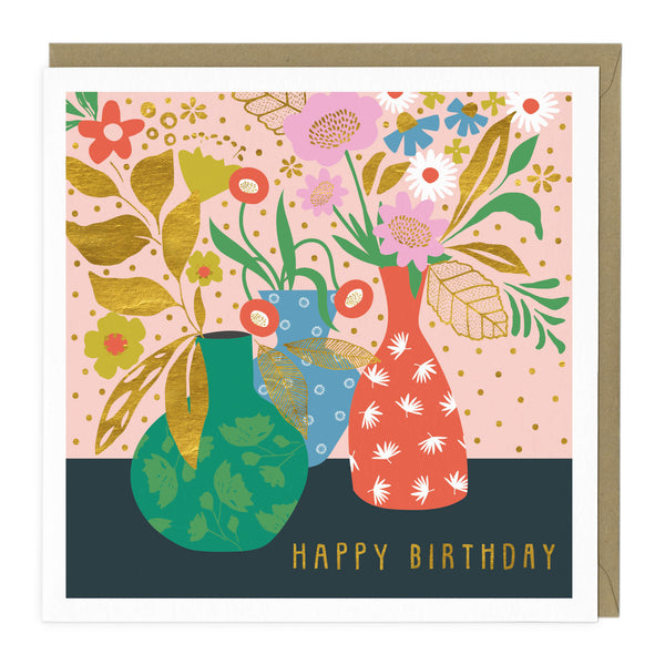 Colourful Floral Vases Birthday Card
