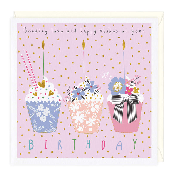 Triple Cupcake Birthday Card