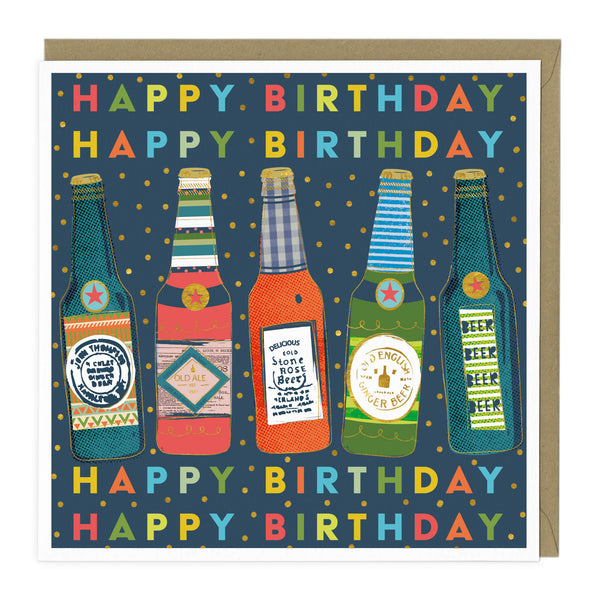 Colourful Beer Bottles Birthday Card