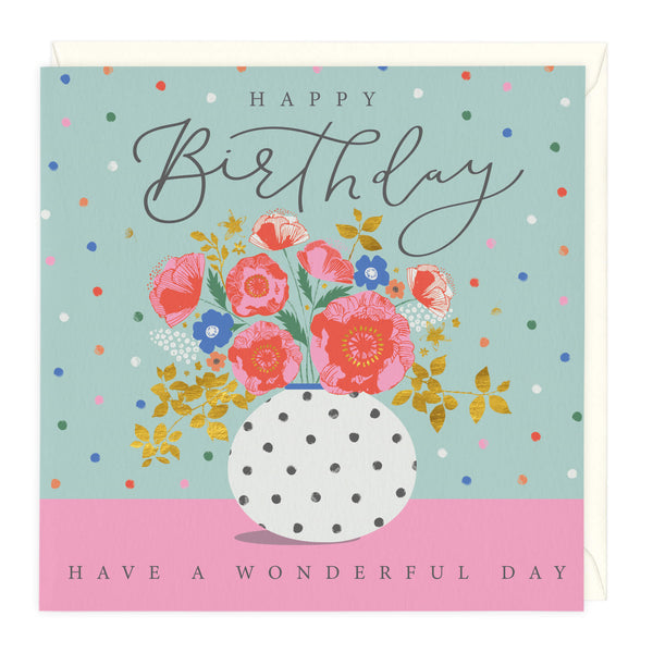 Wonderful Floral Vase Birthday Card