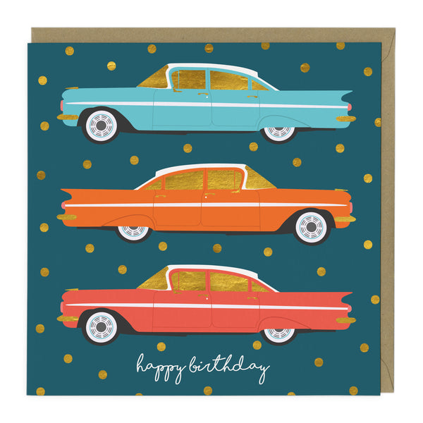 Golden Retro Cars Birthday Card