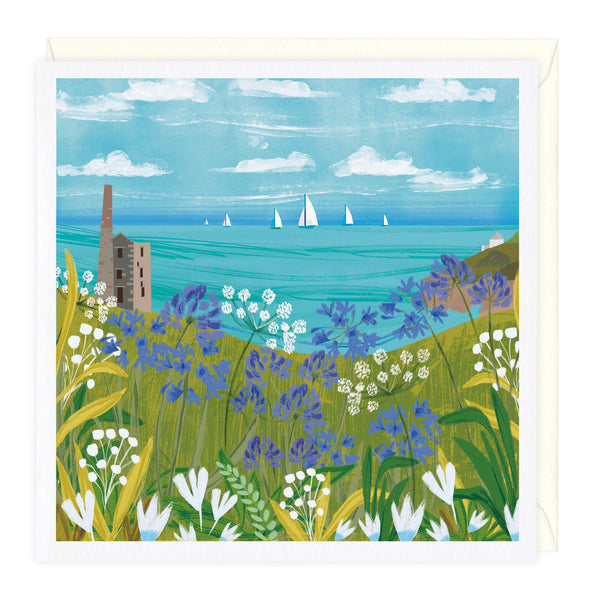 Agapanthus Over Rinsey Head Art Card