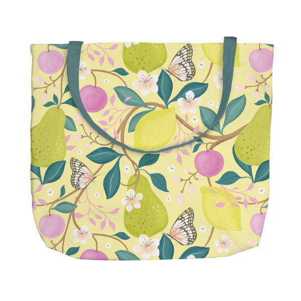 Summer Fruits Yellow Tote Bag