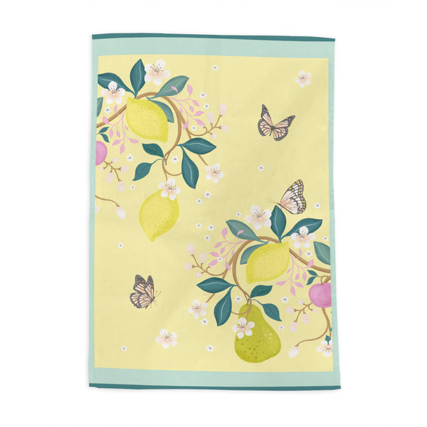 Summer Fruits Yellow Tea Towel