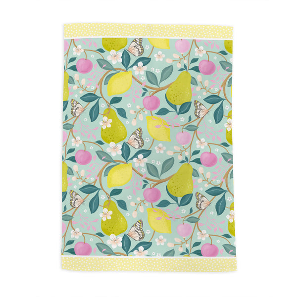 Summer Fruits Blue Tea Towel