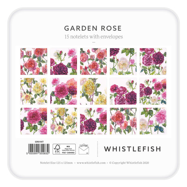 Garden Rose Notelet Tin