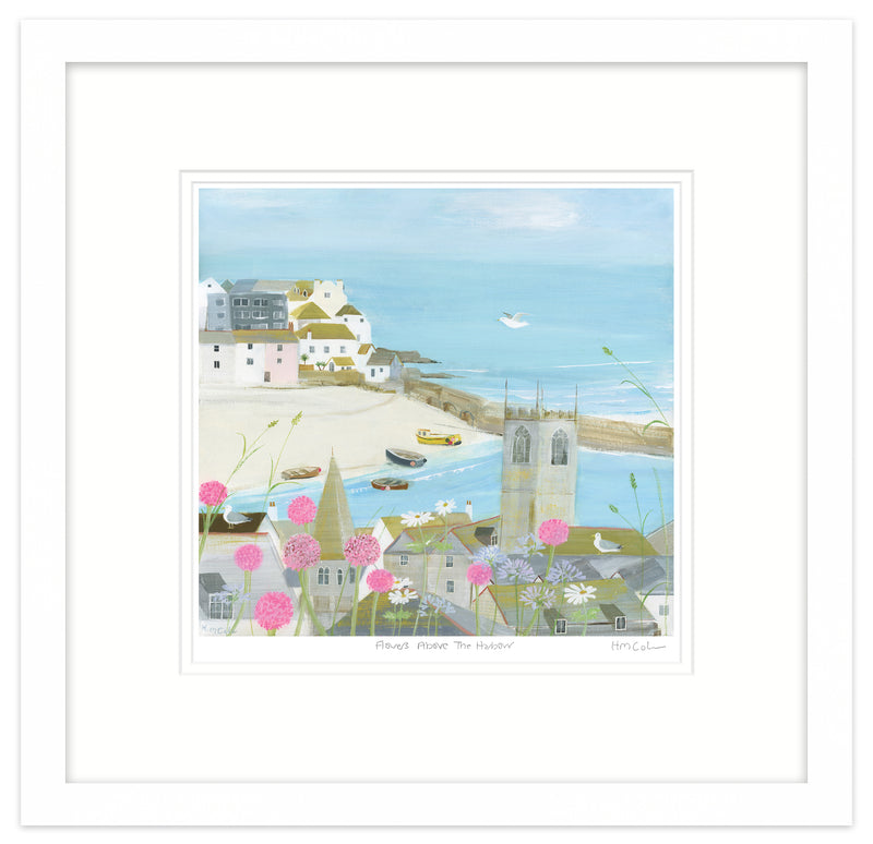 Flowers Above The Harbour Large Framed Print