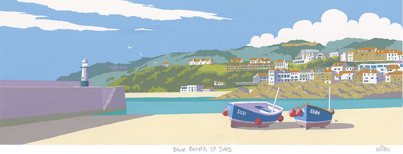 Blue Boats St Ives Print