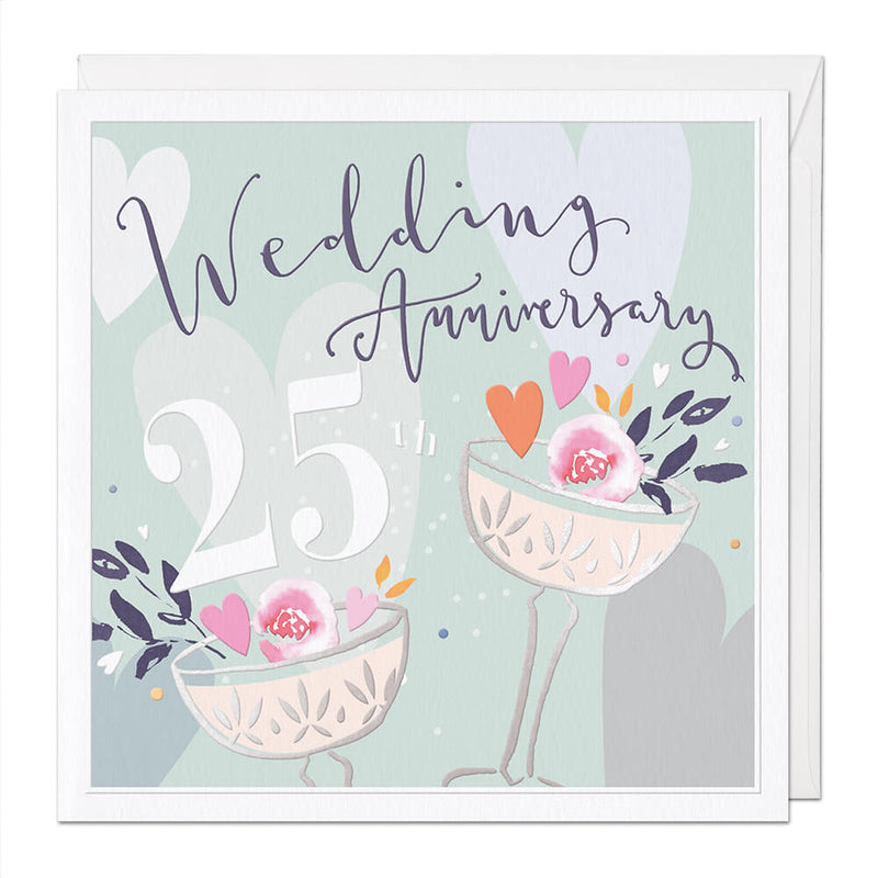 Silver Wedding Luxury Anniversary Card
