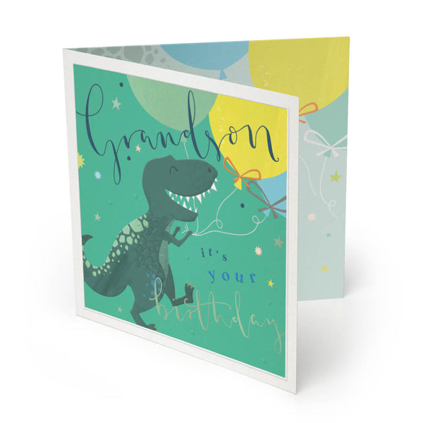 Dinosaur Grandson Luxury Birthday Card