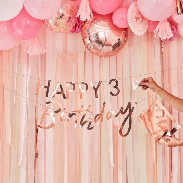Customisable Rose Gold Birthday Banner