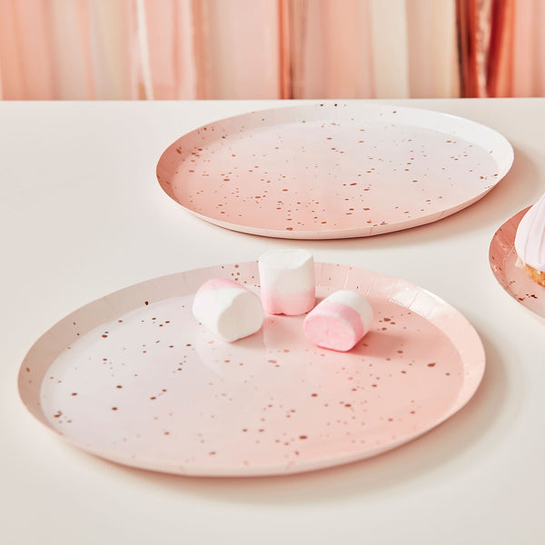 Pink Watercolour Speckle Rose Gold Paper Plates