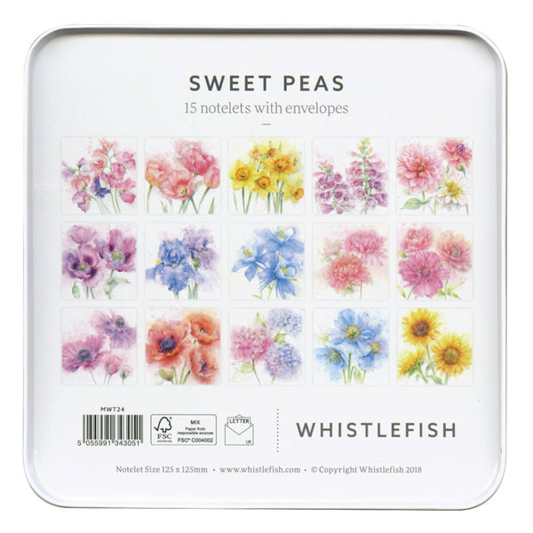 Sweet Peas Notelet Tin