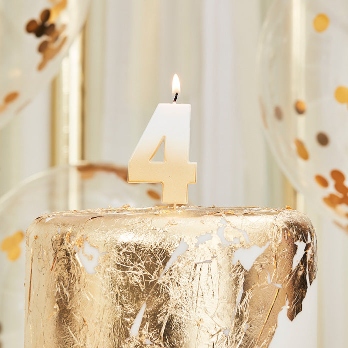 Gold Ombre 4 Number Birthday Candle