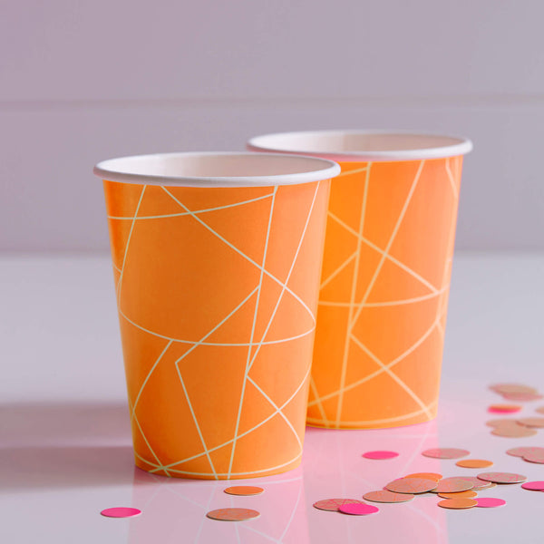 Neon Orange Geometric Paper Cups