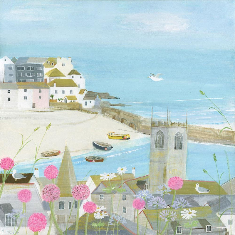 Flowers Above The Harbour Small Art Print