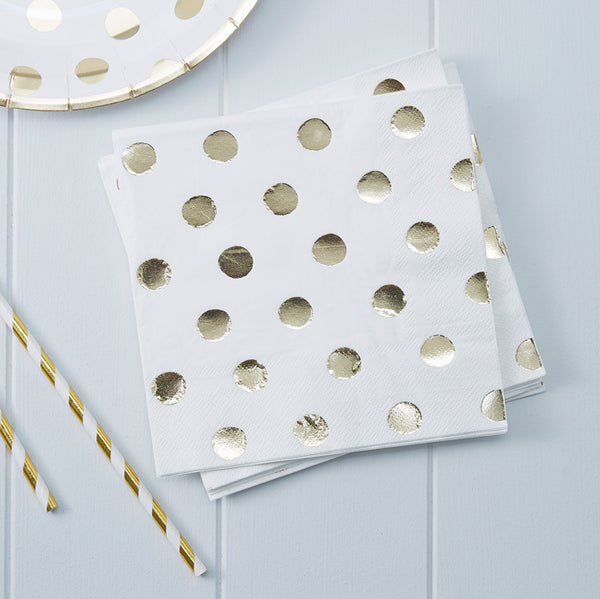 Gold Foiled Polka Dot Party Napkins