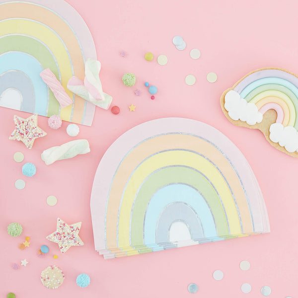 Pastel and Iridescent Rainbow Napkins