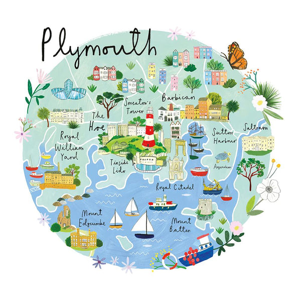 Plymouth Map Art Print