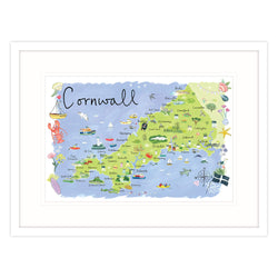 Cornwall Map Landscape Framed Print
